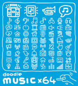 Doodle music icon set — Stock Vector