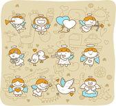 Angel icon set — Stock Vector