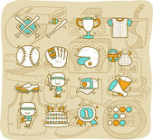 Baseball ,Sport icon set — Stock Vector