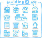 European houses, buildings,store ,travel icons, — Stock Vector