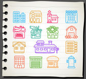 Hand drawn houses, buildings,store ,travel icons, — Vettoriale Stock