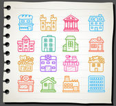 Hand drawn houses, buildings,store ,travel icons, — Vector de stock