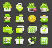 Eco,business,shopping,travel icon set — Vector de stock