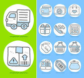 Business,office,travel,shopping icon set — Stock Vector