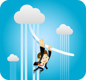 Businessman Swinging From Cloud — Stock Vector