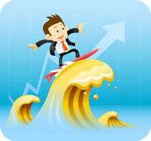 Businessman surfing — Stock Vector