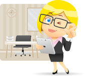Businesswoman and tablet PC — Stock Vector