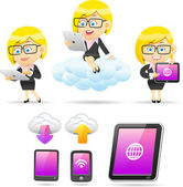 Businesswoman ,Tablet PC — Stock Vector