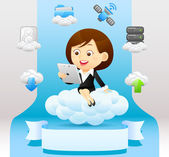 Businesswoman with tablet pc set — Stock Vector