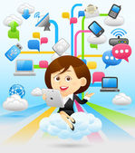 Shopping Lady with tablet — Stock Vector