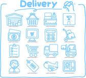 Hand drawn Delivery,Shopping icon set — Vector de stock