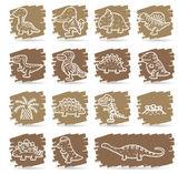 Dinosaur icon set — Stock Vector