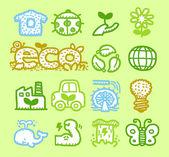 Jeu d'icônes de verdure — Vecteur