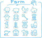 Hand drawn Farm icon set — Stock Vector