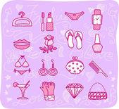 Women,accessories icon set — Stock Vector