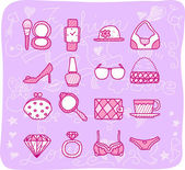 Women,accessories icon set — Vector de stock