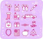 Beauty accessory icon set — Stock Vector