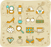 Fashion,beauty accessory icon set — Stock Vector