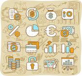 金融、ビジネス、オフィスのアイコンを設定 — ストックベクタ
