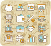Finance, banking,business,office icons set — Stock Vector