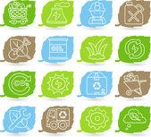 Green environment icon set — Stock Vector