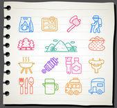 Viaggi, picnic, icona camping set — Vettoriale Stock