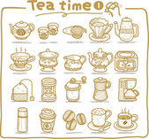 Hand drawn teatime icons — Stock Vector