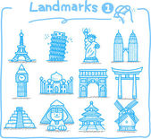 Hand drawn landmark icons — Stock Vector