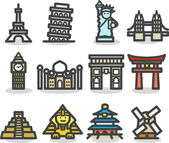 Travel,landmarks,tr ip,business travel icon set — Vettoriale Stock