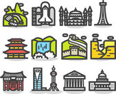 Travel,landmarks,tr ip,business travel icon set — ストックベクタ