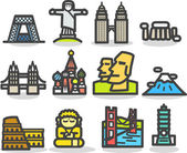 Travel,landmarks,tr ip,business travel icon set — Vecteur