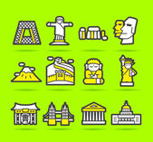 Famous international historical landmark monuments icon set — Stock Vector