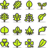 Plants, leaves, trees icon set. — Vector de stock