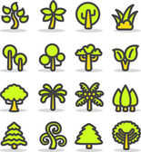 Plants, leaves, trees icon set. — Stock Vector