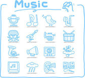 Hand drawn music icon set — Stock Vector