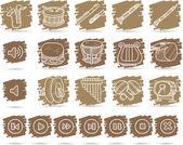 Conjunto de ícones de instrumentos musicais — Vetor de Stock