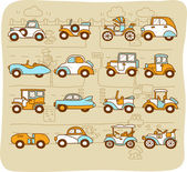 Old cars,transportation , automobile, icon set — Stock Vector