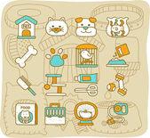 Pet , Animals icon set — Stock Vector