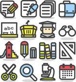 School,education,re search icon set — Stock Vector