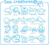 Hand drawn sea creatures icon set — Stock Vector
