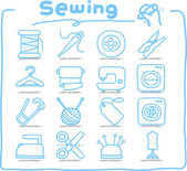 Hand drawn Sewing icon set — Stock Vector