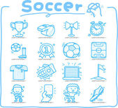 Hand drawn soccer,sport icon set — Stock Vector