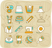 Sewing icon set — Stock Vector