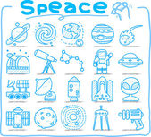 Hand draw Universe ,space icon set. — Stock Vector