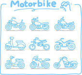 Motorcycle,transpor ration,motorbike, icon set — Stock Vector