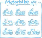 Motorcycle,transpor ration,motorbike, icon set — Stock Vector