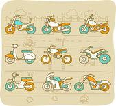 Motocicleta, ortation transp, moto, coche icono conjunto — Vector de stock