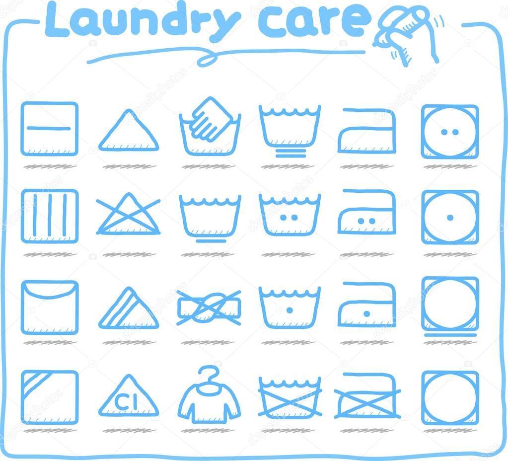 Soins du linge dessin s symboles de lavage des mains image vectorielle min - Signification des symboles de lavage du linge ...