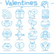 Hand drawn valentine's Day ,love , wedding icon set — Stock Vector