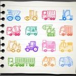 Cars,transportation , automobile, work machine icon set — Stock Vector